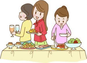 立食パーティをする女性達のイラスト