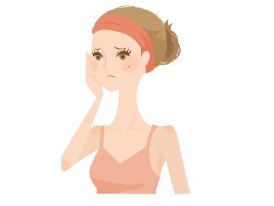 シミを気にする女性のイラスト