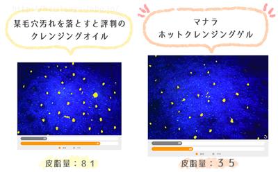マナラと他クレンジングオイルの皮脂汚れ落ち比較