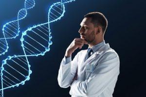 遺伝子と科学者男性