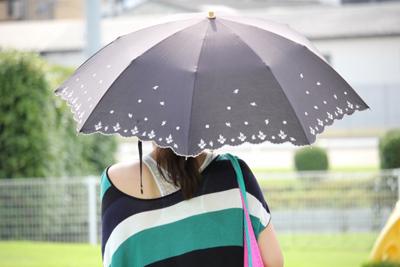 日傘をさしている女性の画像