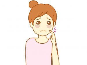 肌トラブルに悩む女性のイラスト