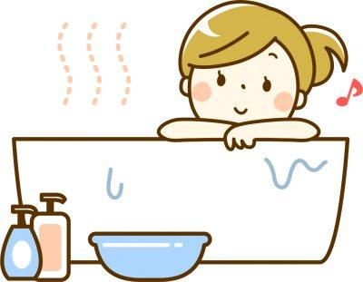 お風呂に入浴中のイラスト