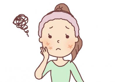困っている表情の女の子のイラスト