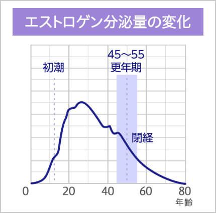 エストロゲン分泌量の変化のグラフ