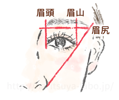眉毛の整え方の参考図
