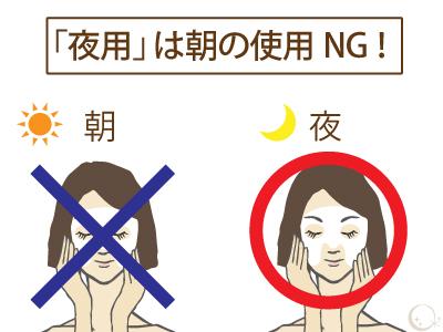 夜用美白化粧品は必ず「夜のみ」使用 イラスト