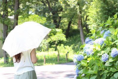 日傘をさして外を歩く女性