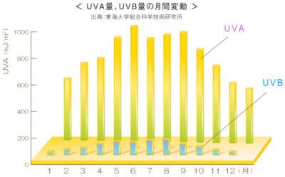 日本ロレアル 年間の月別紫外線量